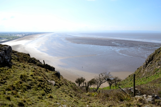 Looking out across the Brean sands